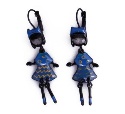 Boucles d'oreilles Lolilota poupées chapeautées robe bleue et jaunes