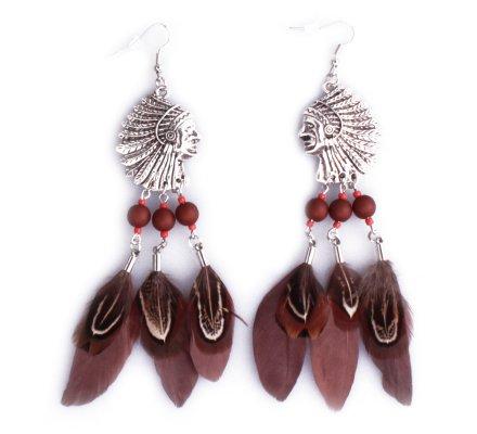 Boucles d'oreilles Lolilota Têtes d'indiens argent à plumes marron femme