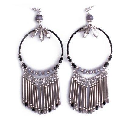 Boucles d'oreilles Lolilota Grands anneaux Bohemia à perles femme