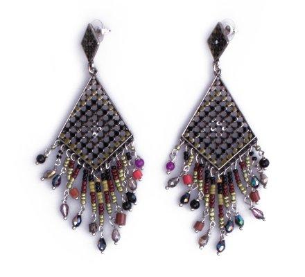 Boucles d'oreilles Lolilota vertes Losanges ethniques femme
