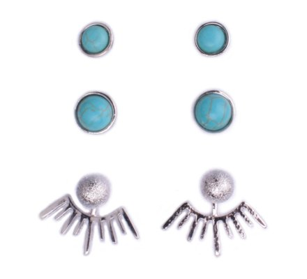 3 paires de boucles d'oreilles Lolilota perles turquoises soleil