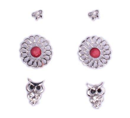 3 paires de boucles d'oreilles Lolilota noeuds argent fleurs et hiboux