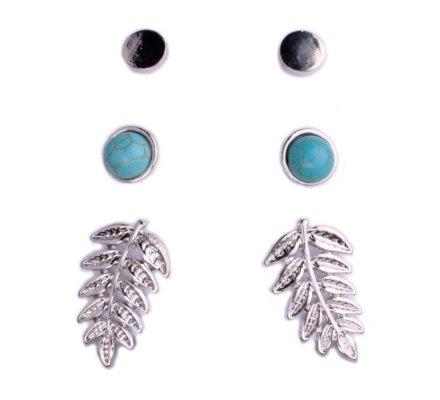 3 paires de boucles d'oreilles Lolilota clous argent perles et feuille