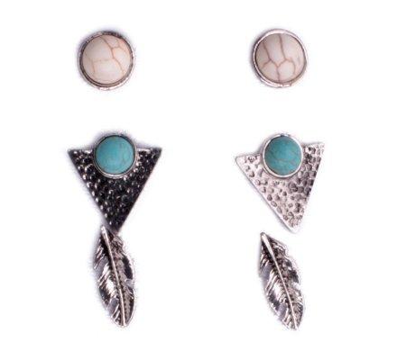 3 paires de boucles d'oreilles Lolilota clous, triangles et plumes