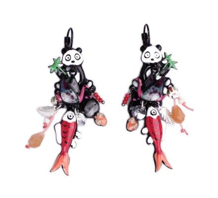 Boucles d'oreilles Lolilota Panda Geisha et son poisson rouge