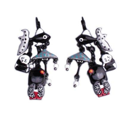 Boucles d'oreilles Lolilota Pays du panda poisson noir