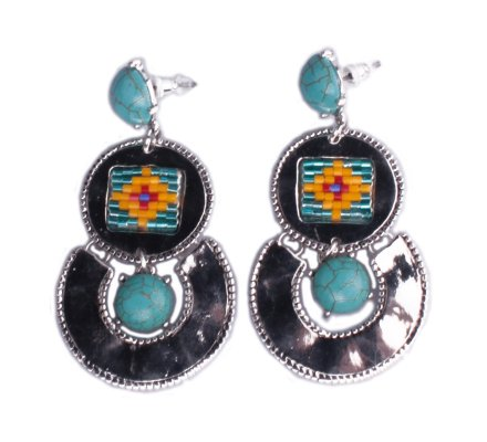 Boucles d'oreilles Lolilota ethniques Gongs argent perles multicolore
