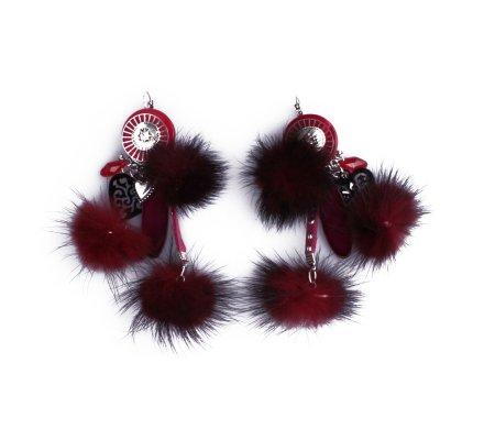 Boucles d'oreilles Lolilota pompons rouges bordeaux et cœur ciselé noir