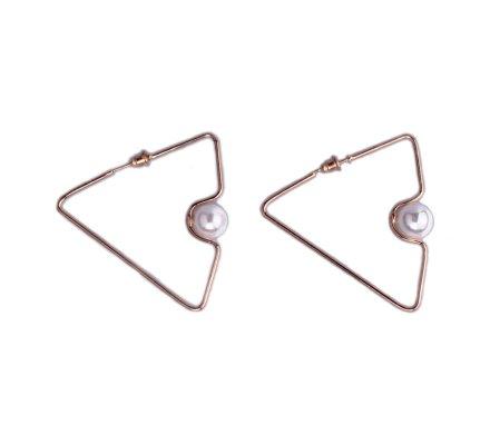 Boucles d'oreilles Lolilota Triangles dorés perle blanche nacrée
