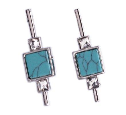 Boucles d'oreilles Lolilota carré marbre bleu turquoise et strass