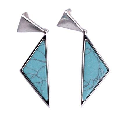 Boucles d'oreilles Lolilota double triangle argent et bleu