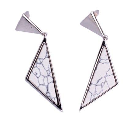 Boucles d'oreilles Lolilota double triangle argent et marbre blanc