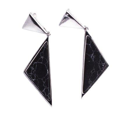 Boucles d'oreilles Lolilota double triangle argent et marbre noir