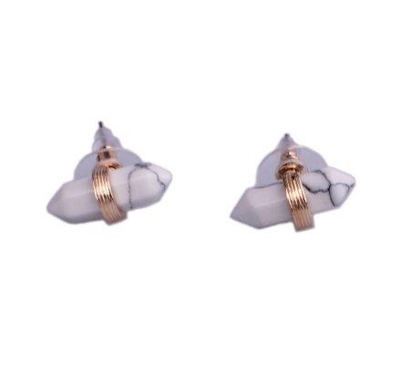 Boucles d'oreilles Lolilota pépites marbre blanc et anneau doré
