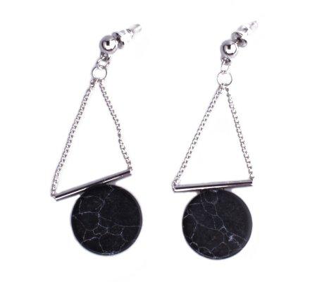 Boucles d'oreilles Lolilota rond marbre noir suspendu chaînettes argent