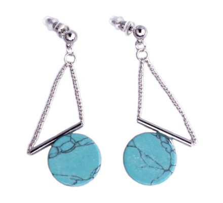 Boucles d'oreilles Lolilota rond marbre bleu suspendu chaînettes argent