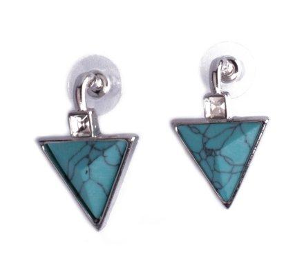 Boucles d'oreilles Lolilota triangles bleus turquoise strass carrés