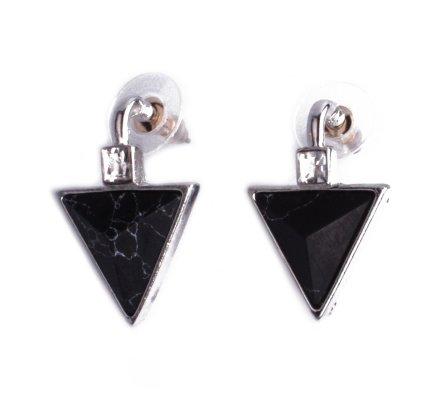 Boucles d'oreilles Lolilota triangles marbre noir et strass carrés