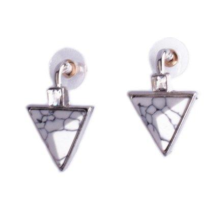 Boucles d'oreilles Lolilota triangles marbre blanc et strass carrés