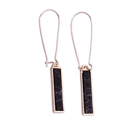 Boucles d'oreilles Lolilota pendantes dorées tige marbre noir