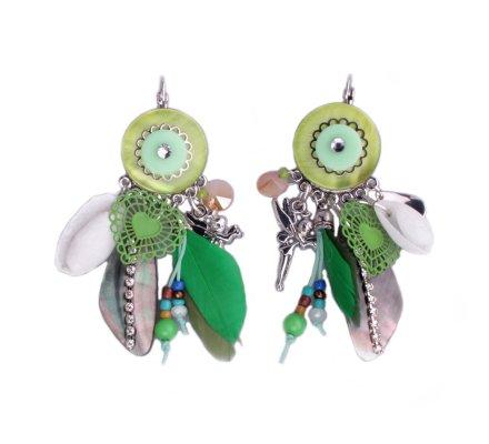Boucles d'oreilles Lolilota vertes perle fée clochette et plumes
