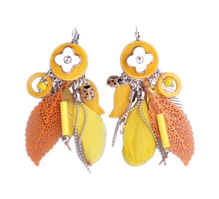 Boucles d'oreilles breloques plumes et feuilles jaunes et oranges