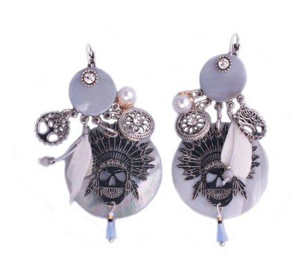 Boucles d'oreilles Lolilota tête de mort maya et perles de nacre grises