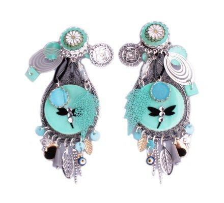 Boucles d'oreilles Lolilota à clips médaillon argent et vert libellule