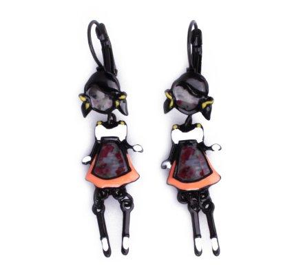 Boucles d'oreilles Lolilota poupées à couettes robe orange à fleurs