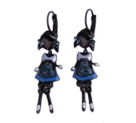 Boucles d'oreilles Lolilota poupées à couettes robe bleue à vagues