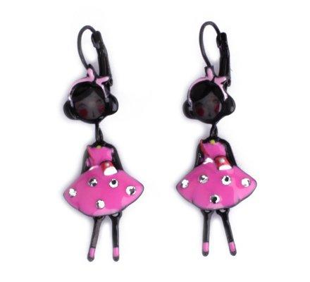 Boucles d'oreilles Lolilota poupées à noeud robe rose à strass