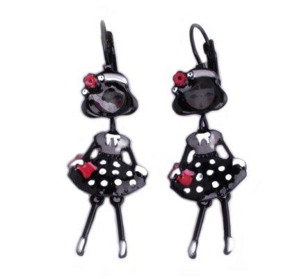 Boucles d'oreilles poupées à coquelicots robe noire à pois blancs