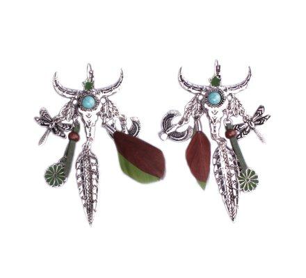 Boucles d'oreilles Lolilota Taureau et plumes argent multicolore