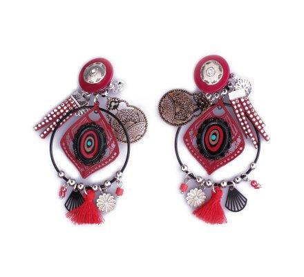 Boucles d'oreilles Lolilota à clips anneaux noirs filigrane rouges