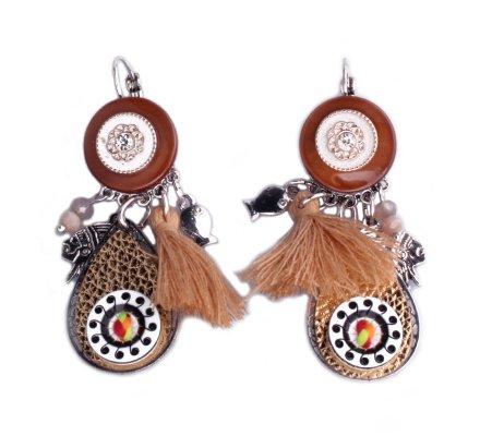 Boucles d'oreilles Lolilota marron camel médaillon doré et indien