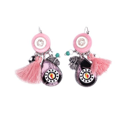 Boucles d'oreilles Lolilota breloques roses médaillon tacheté