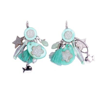 Boucles d'oreilles Lolilota vert d'eau fleurs étoiles brillantes