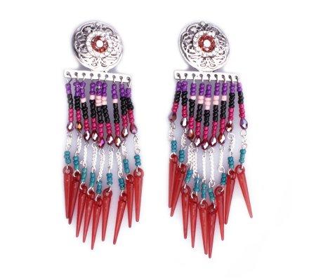 Boucles d'oreilles Lolilota à clips Gong strass rideau de perles