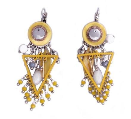 Boucles d'oreilles Lolilota breloques triangles perlés jaunes