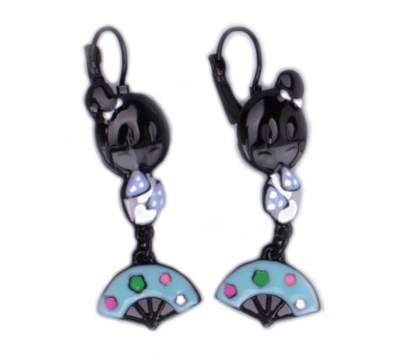 Boucles d'oreilles Lolilota poupée geisha et son éventail bleu