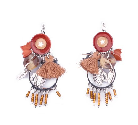 Boucles d'oreilles Lolilota breloques indien pompon étoile marrons