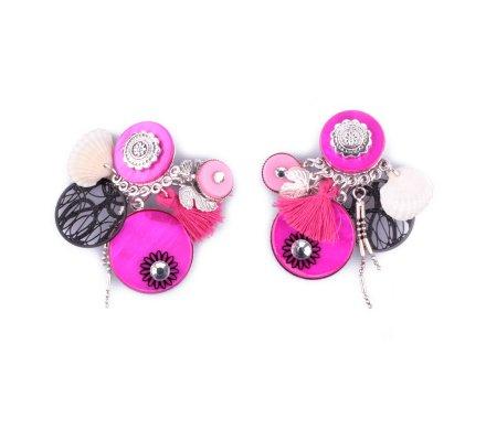 Boucles d'oreilles Lolilota à clips roses et noires coquillage