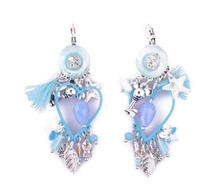 Boucles d'oreilles Lolilota breloques bouton strass coeur bleues