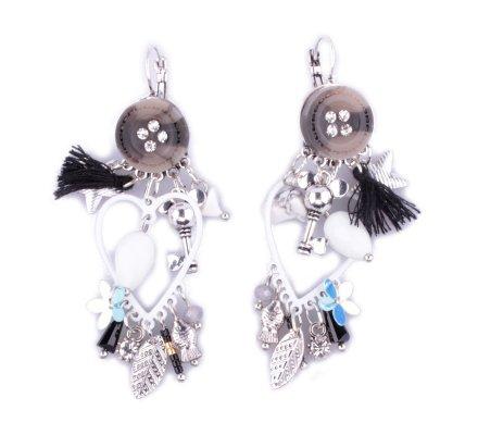 Boucles d'oreilles Lolilota breloques bouton strass coeur blanches et noires