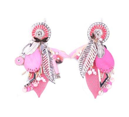 Boucles d'oreilles Lolilota breloques roses argent et doré Contalis