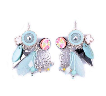 Boucles d'oreilles Lolilota breloques Pomelos bleues et multicolores