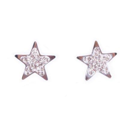 Boucles d'oreilles étoiles acier argent et strass