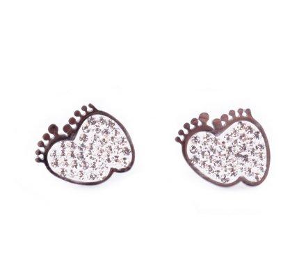 Boucles d'oreilles pieds acier argent et strass