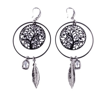 Boucles d'oreilles anneaux arbres à plumes grises