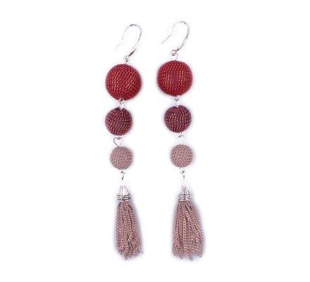 Boucles d'oreilles LOLILOTA Tribouli et chaînettes rouges prunes et beiges